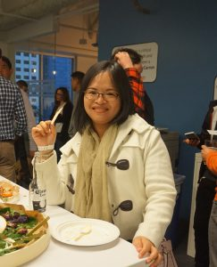 Ady Liang, a Biotechnology certificate student, at a networking event in San Francisco.
